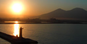Sun Rising Over Mt Vesuvius Behind Naples, Italy
